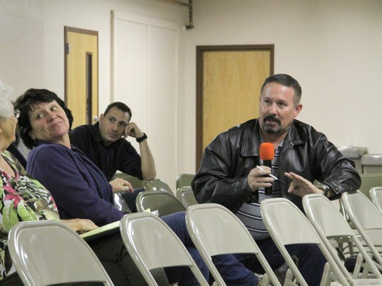 Alamogordo Public Works Director Brian Cesar answers questions about flooding during the North Alamogordo Flood Control Committee (NAFCC) meeting Tuesday evening at the Otero County Fairgrounds Walter Wade meeting room.
