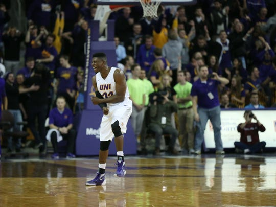 UNI's Wes Washpun celebrates at the end of the North