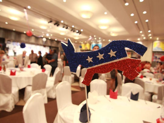 A table center piece featuring the Democrat symbol is displayed at the Democratic Party of Guam's Jefferson Jackson Dinner at Leo Palace in August 2012.