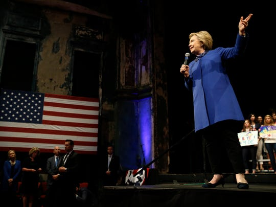 Hillary Clinton speaks during a campaign stop on April 25, 2016, in Wilmington, Del.