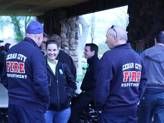 Well over 100 community members, firefighters and police officers braved the weather for the first annual Public Safety Responders Appreciation Day in Cedar City on Saturday, May 7, 2016.