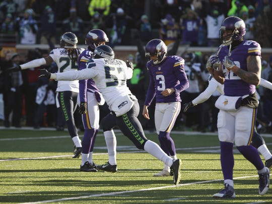 Minnesota Vikings kicker Blair Walsh (3) reacts after missing a field goal during the Jan. 10 wild-card football game against the Seattle Seahawks in Minneapolis. The Seahawks won 10-9.