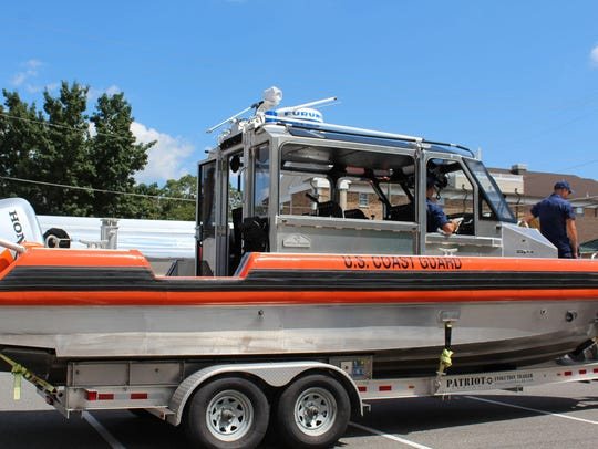 The U.S Coast Guard brought in a boat for children