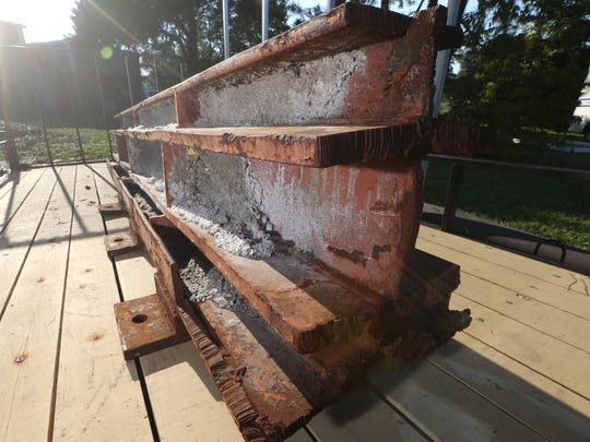 An I-beam that was a part of the World Trade Center before the attacks of September 11, 2001, 15 years ago, is stored at Tallahassee Fire Station 4.