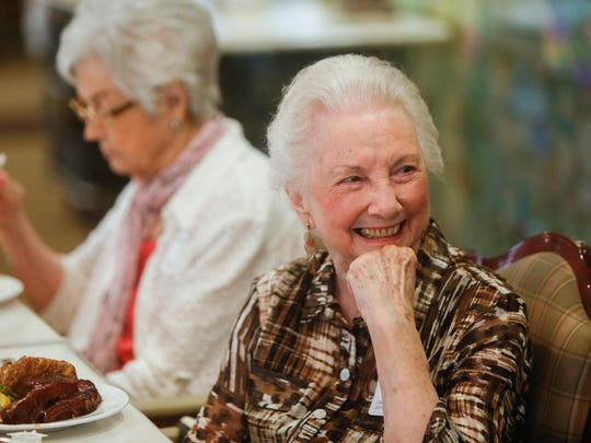 Shirley Heatherly, graduate of Springfield High School's Class of 1941, laughs while attending the 75th class reunion on Wednesday, September 28, 2016 at The Montclair.