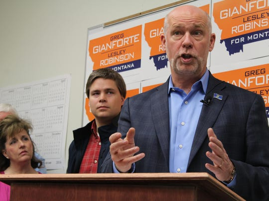Greg Gianforte speaks to Cascade County Republicans during a meeting in Great Falls on Wednesday morning.