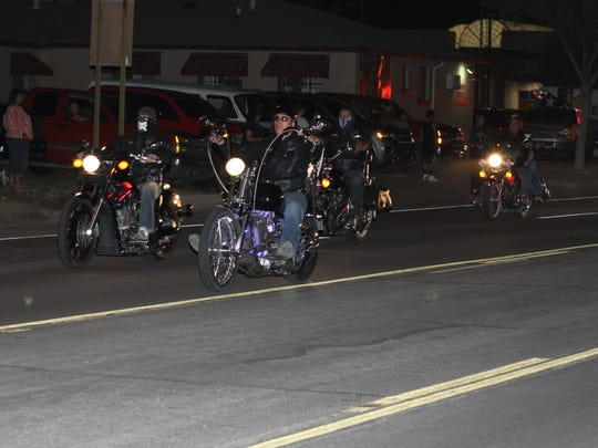 Members of local motorcycle groups gathered in support of fallen Sheriff's Lieutenant Richard Cowles Monday night.