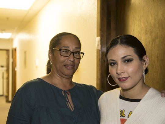 Daneen Cain (left) is case manager for Justina Kaleugher.
