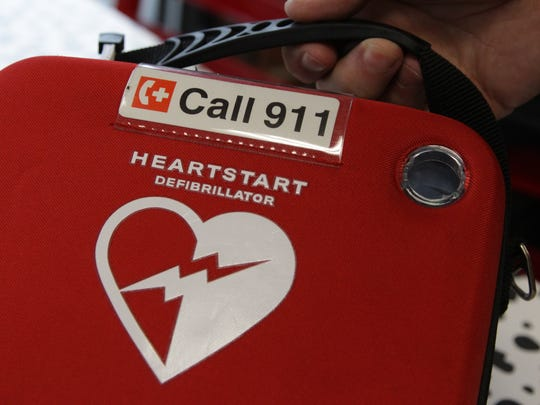 An automated external defibrillator, or AED, used to assist individuals going into cardiac arrest.