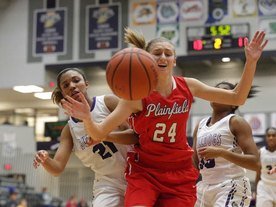 Plainfields #24, Riley Blackwell and Brownsburg's #21,