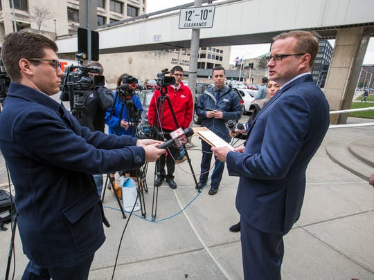 District Attorney Steve Cornwell addresses members of the media Wednesday outside Broome County Court, where he announced the indictment of Town of Union Supervisor Rose Sotak on five charges.