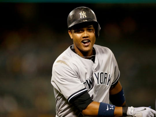 Starlin Castro, here enjoying giving the Yankees a lead in the 10th at Oakland on June 15, is hoping to return after the All-Star break after going on the 10-day disabled list on June 27 with a strained right hamstring.