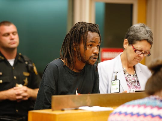 Martay Simpson, 26, during his Monday morning arraignment on aggravated arson and vandalism charges. Simpson is accused of setting Cincinnati Police Headquarters on fire.