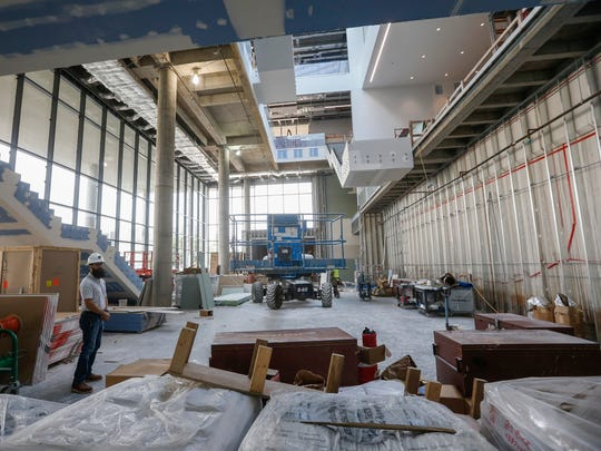 A view of the atrium at Glass Hall during a tour on Monday, August 14, 2017.