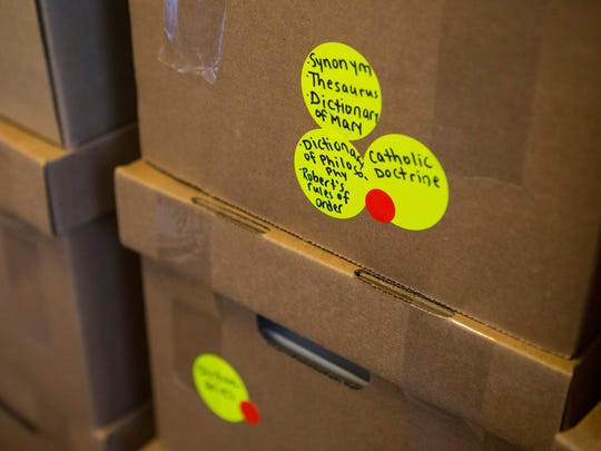 Boxes full of belongings at the Caterina Benincasa Dominican Monastery at Holy Spirit Church in New Castle.