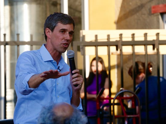 "Congressman Beto O'Rourke addresses supporters that came out to his ""Rally for Relief,"" held at Ode Brewery Thursday night after touring Texas for the past 34 days."