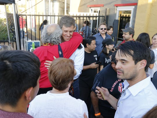U.S. Rep. Beto O'Rourke receives hugs from supporters