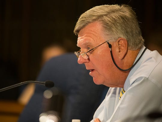 Wilmington City Council member Charles Freel speaks during a regular meeting of the council Thursday, Sept. 21, 2017, in the Council Chambers.