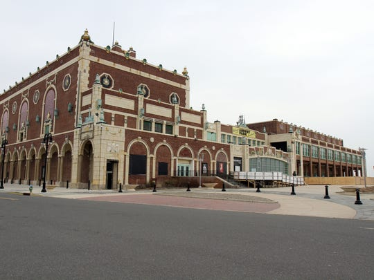 The exterior of Asbury Park's Paramount Theatre (left)
