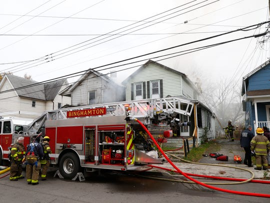 Binghamton Fire Department responds to a structure