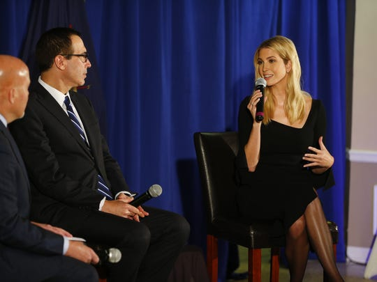 Presidential advisor Ivanka Trump speaks during a Town Hall meeting at the Bayville, NJ, firehouse with Congressman Tom MacArthur (left, R-NJ) and Treasury Secretary Steve Mnuchin.