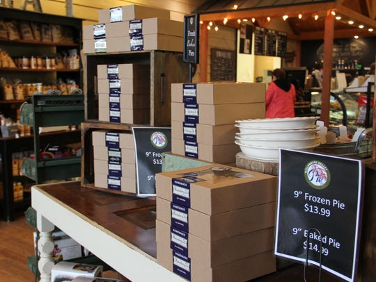 Marionberry pies sit on display in the Willamette Valley