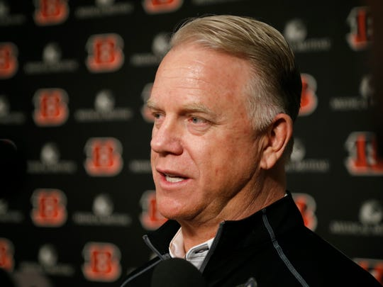 Former Cincinnati Bengals quarterback Boomer Esiason takes questions in an improvised press conference ahead of the Week 13 game between the Bengals and the Pittsburgh Steelers in downtown Cincinnati on Monday, Dec. 4, 2017.