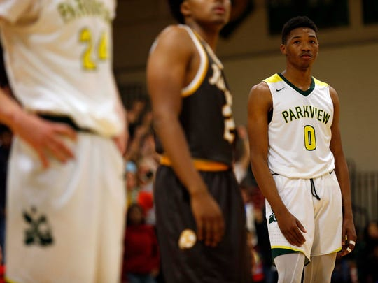 Instead of Hillcrest blue and orange, Tyem Freeman is wearing Parkview green and yellow.