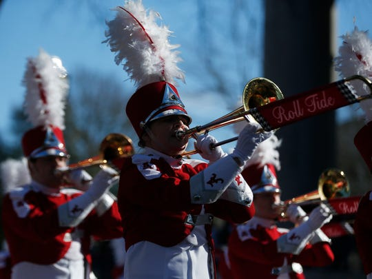 The University of Alabama band plays during the NCAA college football national championship parade, Saturday, Jan. 20, 2018, in Tuscaloosa, Ala. Alabama won the national championship game against Georgia 26-23 in overtime. (AP Photo/Brynn Anderson)