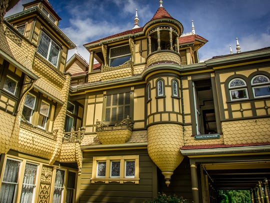 The exterior of the Winchester Mystery House, which
