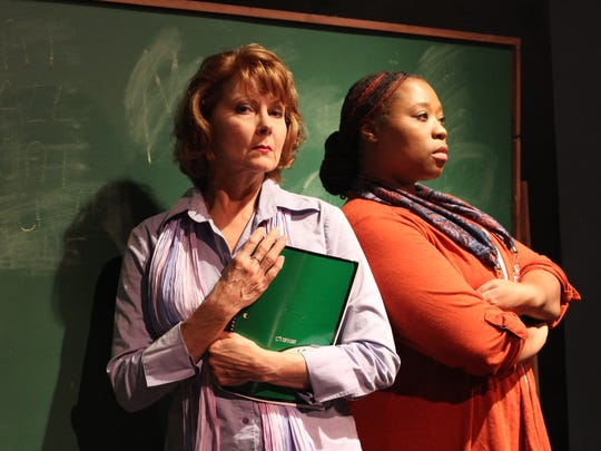 "Lauren Drexler (left) and Sonya McCarter star in Theatre Conspiracy's ""Gidion's Knot."""