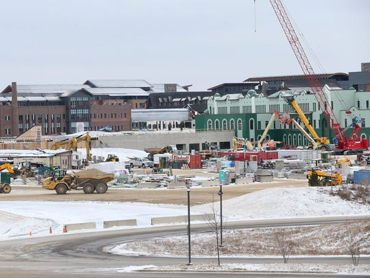 Construction continues at the expanding Epic corporate campus in Verona.