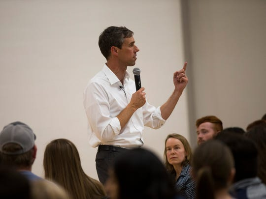 U.S. Rep. Beto O'Rourke, D-El Paso, addresses students at Texas A&M in College Station on Wednesday, March 28, 2018 on a campaign stop. O'Rourke is challenging Republican Ted Cruz for his seat in the U.S.
