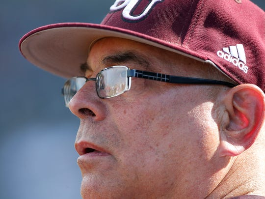 Scenes from Missouri State's 14-9 win over Southern Illinois at Hammons Field on Saturday, May 12, 2018. Coach Keith Guttin is pictured.