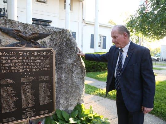 Daniel Morea pays his respects to the Beacon War Memorial