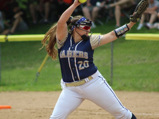 Susquehanna Valley's Sophia Pappas throws against Windsor in Saturday's Section 4 Class B final at the BAGSAI Complex. Pappas struck out nine and homered to lead the Sabers to an 8-0 victory.