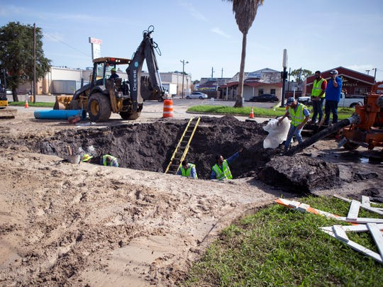 The city repairs a water main break on Alameda Street near Robert Drive on Thursday, July 12, 2018. The city was working to address several water main breaks throughout the city.