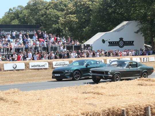 The 2019 Mustang Bullitt rolls alongside the 1968 Mustang