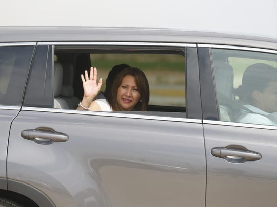 Patricia Marronquin, the First Lady of Guatemala waves as the motorcade she was in made its way into the camps at the Tornillo Port of Entry on Monday afternoon.