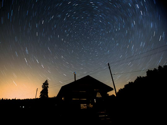 A long exposure image shows Stars revolving around the North Star during a 'Night of falling stars' on the Col de la Givrine (Givrine Pass), near Saint-Cergue, Switzerland, early Aug. 5,  2018. Astronomers expect the peak of this year's Perseids meteor shower between the 11th and 13th of August although the Perseids usually can be seen in a clear night sky between mid-July and mid-August when particles and debris of its cloud interact with or burn in the earth's atmosphere.