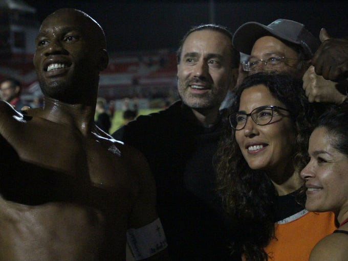 Phoenix Rising's Didier Drogba takes a selfie with