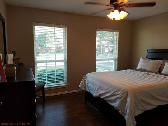 The bedroom of a San Angelo bed and breakfast is shown.