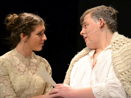 Lindsay Hawtof, left, plays Cosette and Ben Strong plays Jean Valjean in Newark Charter's 'Les Miserables.'