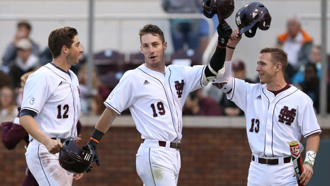 Mississippi State's Brent Rooker competed in the college baseball home run derby on Saturday.