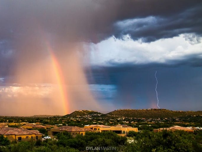 Lightning, downpour and a rainbow -- what monsoon season