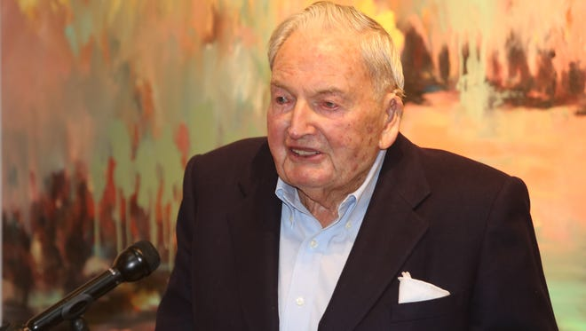 David Rockefeller greets the crowd at the Rockefeller State Park Preserve in Pleasantville, March 26, 2015. David Rockefeller has donated $4 million to establish an operating endowment supporting the park.