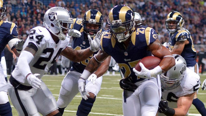 Rams rookie RB Tre Mason scored two TDs against the Raiders.