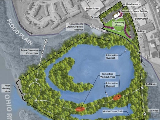 A rendering of New Albany's plans to make the Loop Island Wetlands into a recreation area as part of construction of the Ohio River Greenway.