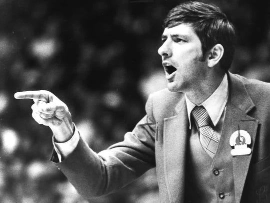 Laurel County coach Chuck Broughton yells to players during a game in 1982.