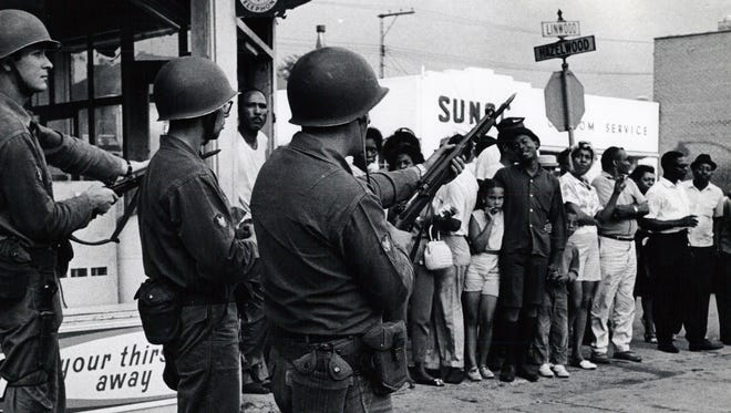 Members of the National Guard on Hazelwood in Detroit during the uprising in July 1967. This year marks the 50th anniversary.